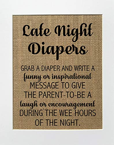 8x10 UNFRAMED Late Night Diapers/Burlap Print Sign/Baby Shower Diaper Game Write Funny Inspirational Message Shower Funny Game Sign Rustic Theme Decor