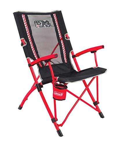Coleman Bungee Chair Silla Plegable, Gris-Rojo, Large