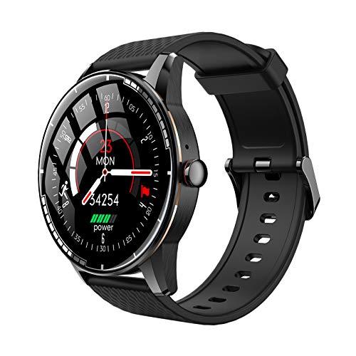 H HILABEE Rastreador de Actividad Física Reloj Inteligente Bluetooth con Pantalla Táctil Recordatorio de Mensajes Podómetro Impermeable Monitor de Sueño Contado - Oro Negro