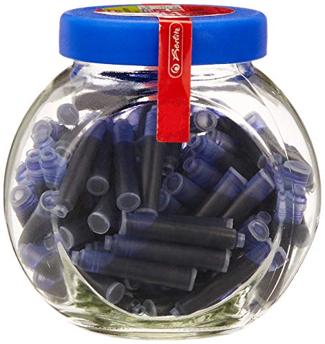 Herlitz Tintenpatronen Im Glas mit Schraubverschluß, 100 Stück, blau, 4008118541169
