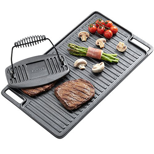 VonShef Black Cast-Iron Griddle Plate