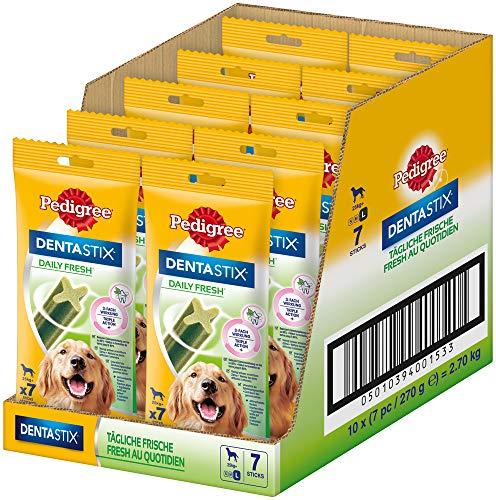 Pedigree DentaStix Daily Fresh Zahnpflegesnack für große Hunde – Hundeleckerli mit Aktivwirkstoffen für jeden Tag – Für gesunde Zähne und einen frischen Atem – 70 Sticks (10 x 7 Stück)