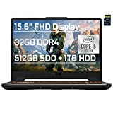 "ASUS TUF F15 Premium Gaming Laptop 15.6"" FHD 10th Gen Intel 4-core i5-10300H ( i7-8750H) 32GB DDR4 512GB SSD + 1TB HDD GeForce GTX 1650 Ti 4GB Backlit USB-C Wifi6 Win10 + Delca 16GB Micro SD Card"