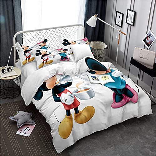 Mickey Mouse Fundas Nordicas 135X200 Cm 3 Piezas Juego De Cama Fundas Nordicas Juveniles Patrón De Impresión 3D, Suave, Cómodo Y Antialérgico con 2 Fundas De Almohada 50X70Cm