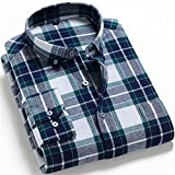 Camisetas De Franela Cepillada 100% Algodón para Hombres De Un Solo Bolsillo De Manga Larga Slim-Fit Casual Plaid Camisa A Cuadros Casual (Color : T0C01 M2, Size : L.)