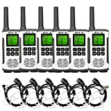 Retevis RT45 Two Way Radios Long Range Rechargeable, Walkie Talkies for Adult with Earpiece,AA Flashlight USB Handsfree LCD,2 Way Radio Business Retail Hotel School(6 Pack)