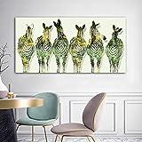 Seis Cebra Animal Lienzo Carteles e Impresiones Arte de la Pared Sala de Estar decoración del hogar Pintura sin Marco 70X140CM