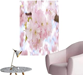 SeptSonne Wall Decoration Wall Stickers A Pink Flower in Full Bloom Print Artwork,24