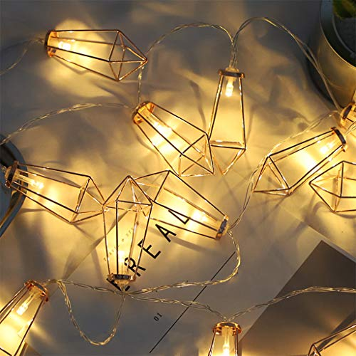 Led Diamond String Lights Battery Operated/Plug-in Waterproof and Dustproof Geometric String Lights Warm White, for Indoor Party Bedroom Christmas