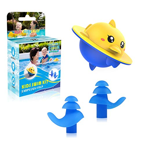 Hearprotek Swimming Pool Game Bath Toys for Kids + Kids Swim Ear Plugs for Bathing, Swimming Training and Other Water Games for Babies Boys Girls Toddlers(Dolphin)
