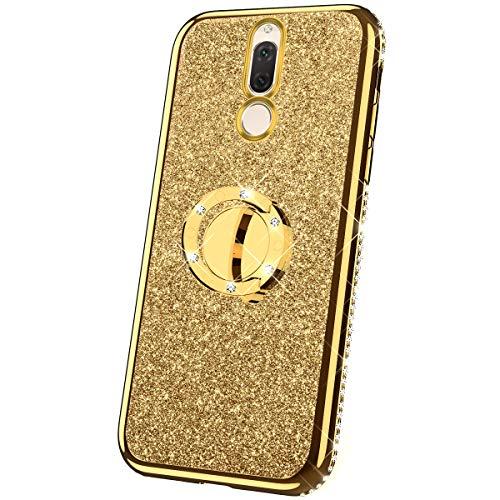 JAWSEU Funda Compatible con Huawei Mate 10 Lite/Maimang 6 Brillante Brillo Suave Silicona TPU Gel Funda con Anillo Bling Diamantes Ultra-Delgada Enchapado Transparente Protectora Carcasa,Oro