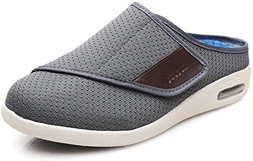 WTFYSYN Zapatillas Edema Artritis Edema Ancho,Zapatos para diabéticos de Suela Blanda, Zapatos Viejos ensanchados de Verano y otoño-Gris Oscuro_35.5,Zapato de Velcro Zapato de Salud cómodo