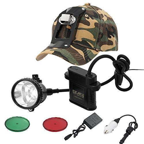 GearOZ Coon Hunting Headlamp Lights 2.0 for Coyotes Hog Predators, 3 Lighting Modes, Red Green Filters, Rechargeable and Waterproof Hunting Headlight, 4ft Power Cable, Larger Battery Capacity