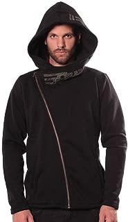 Men's Hoodie - Tribal Graphic Design - Diagonal Zipper - Oversized Stylish Hood