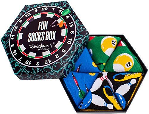 Rainbow Socks - Damen Herren Fun Socks Box Geschenk - 3 Paar - Billard Bowling Dart - Größen 41-46