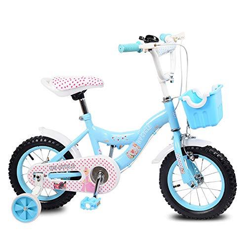 Axdwfd Kinderfiets 12 inch kinderfiets met steunwielen en manden, fietsen voor jongens en meisjes van 2-5 jaar