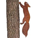 GK rostiges Eichhörnchen rennend - Baumstecker edelrost deko Höhe 15cm x Länge 42cm - Metall Rost Gartendeko als Eichhörnchen Figur- Rostdeko Metall Rost Gartenstecker