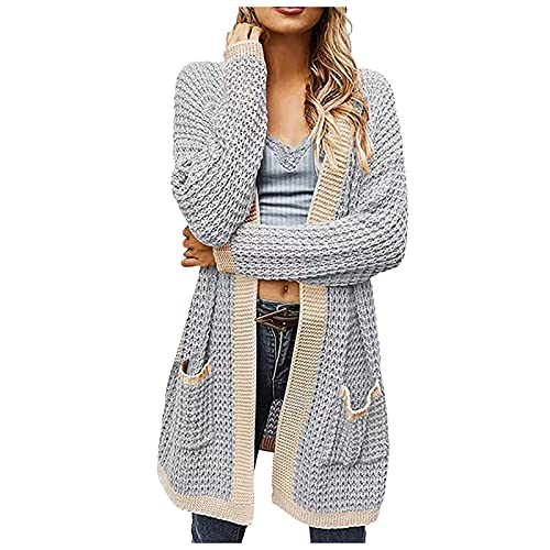 Mujeres Waffle Knit Open Front Cardigan Solid Patchwork Jacket Loose Thin Sweater Long Coat con bolsillos, B Azul Claro, XL