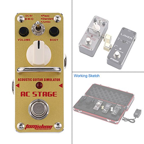 AROMA AAS-3 AC Stage Acoustic Guitar Simulator Guitar Effect Pedal with 1/4