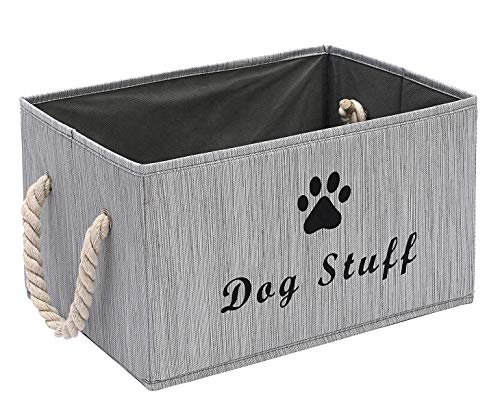 Large Fabric Storage Bins Organizer with Cotton Rope Handle, Collapsible Cube Basket Container Box for Dog Apparel & Accessories, Dog Coats, Dog Toys, Dog Clothing, Dog Dresses, Gift Baskets