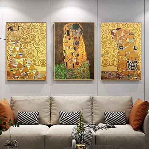 ZHJJD Artista clásico Gustav Klimt El Beso Pintura al óleo Abstracta Dorada...