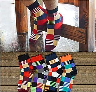 8 pares de calcetines de hombre algodón otoño e invierno color calcetines a cuadros de hombre calcetines de hombre