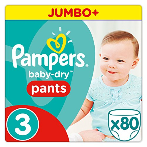 Pampers Baby Dry Pants Windeln Gr. 3 (6-11 kg), Jumbo Plus, 1er Pack (1 x 80 Stück)