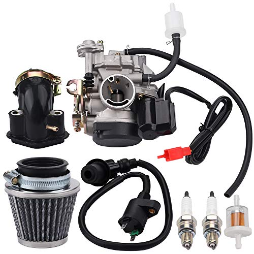 Alibrelo GY6 20MM Carburetor for 80CC 100CC 4 Stroke 139QMB 139QMA Scooter Moped ATV Go Kart Quads Buggy Tune Up Kit