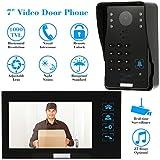 Kkmoon Videoportero Intercomunicador con botón táctil, tarjeta de identificación, visión nocturna, vigilancia de cámaras de seguridad CCTV a prueba de lluvia (TP02S-1) 7 pulgadas