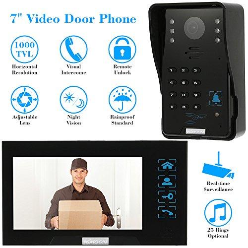 KKMOON Video Türsprechanlage 7 Zoll Video Tür Intercome Türklingel Touch Button ID-Karten/Telefonvorwahl entsperren Night Vision regenfest nach Hause Security CCTV-Kamera Überwachung TP02S-1