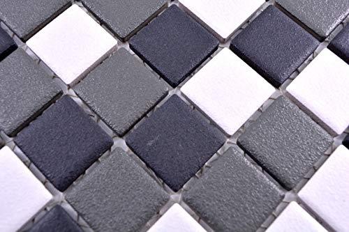 Mozaïektegel keramiek zwart wit antraciet mat douchebak MOS18-2213-R10_m