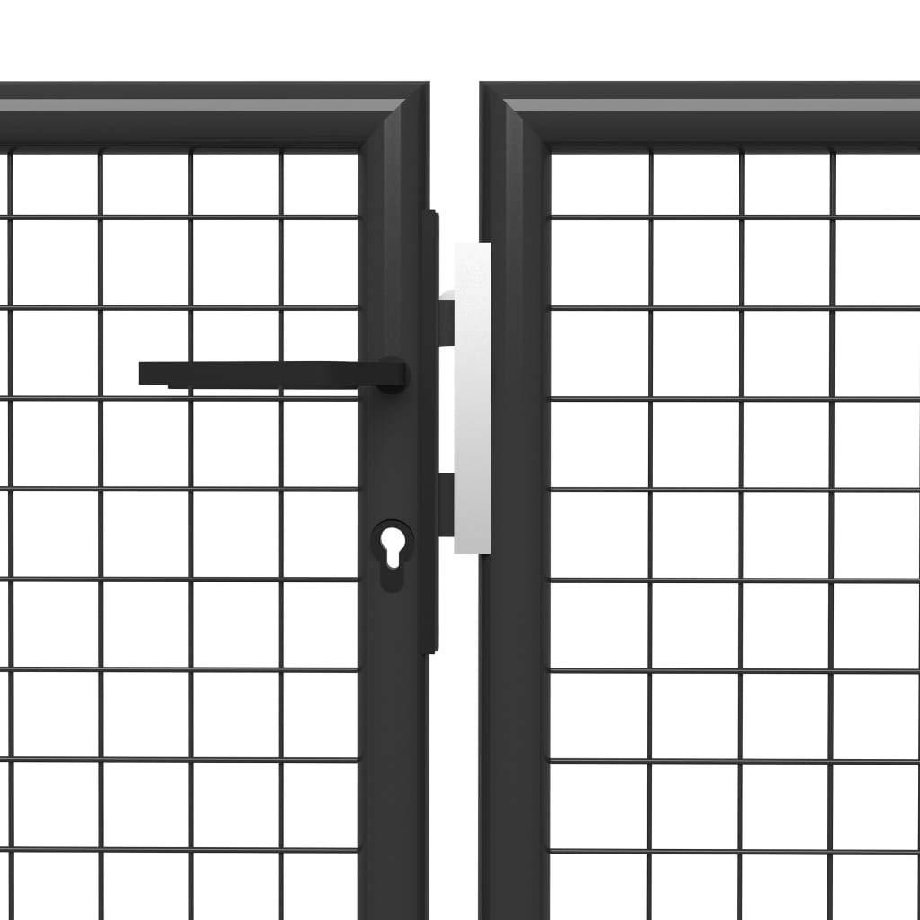 UnfadeMemory Puerta Jardin Metalica,Entrada para Valla de Jardín Patio o Terraza,Resistente al Óxido y a la Corrosión,Acero (400x100cm, Gris Antracita): Amazon.es: Hogar
