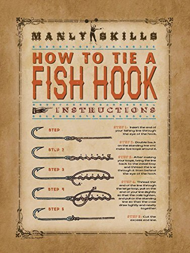 "Manly Skills ""How To Tie a Fish Hook"" Sign' Makes a Great Gift; ONe 11x14inPoster Prints"