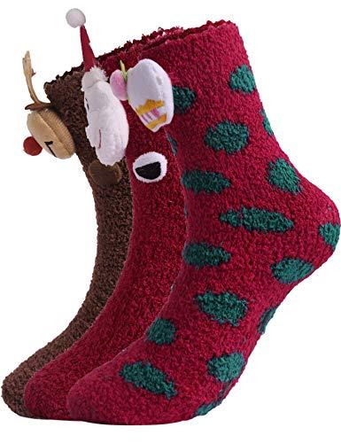 Hawiton Calcetines Navidad Niñas Santa Claus Calcetines de Navidad para Mujer Invierno Calcetines de Felpa Cálidos Calcetines Madre-niños