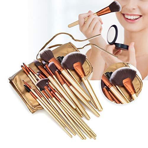 24pcs Ensemble de Pinceaux de Maquillage Professionnel Fond de Teint Pinceau Pinceau Blush Concealers Ombres à Paupières Kit de Pinceaux de Maquillage, avec Sac à Brosse en PU