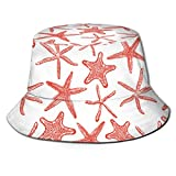 Funny Z Sombrero de Cubo Unisexo Sin Patrón con Varias Estrellas de Mar Dibujadas a Mano Impresa Sombrilla Gorra de Pescador