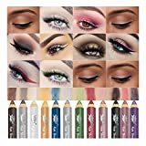 12 Colors Colored Eye Shadow Pen, Matte Eyeliner Kit Liquid Waterproof Colorful Eye Liner Pen Eyes Make up Cosmetics Eyeliners Set Eyeliner Color Liner (12 PCS)
