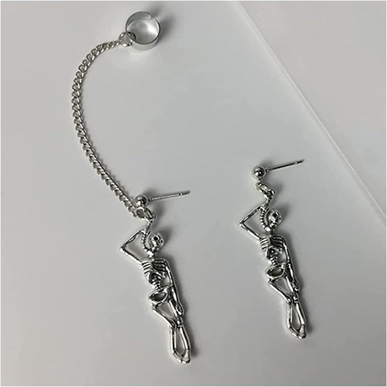 haoxiansheng 2 Pairs Vintage Punk Skull Skeleton Pendant Dangle Earrings,Stainless Steel Gothic Hip Hop Jewelry Skeleton Dangle Earrings,Jewelry for Halloween Party (2 Pairs Ear Stud)