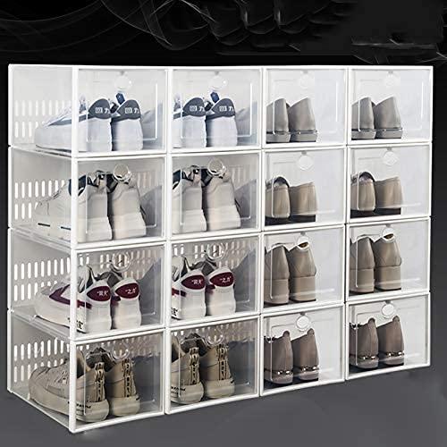 HHTX Caja de Zapatos apilable de 16 Paquetes, Organizador de Zapatos de plástico Transparente Plegable Que Ahorra Espacio, gabinete de Zapatero de múltiples Combinaciones para Dormitorio, Armario