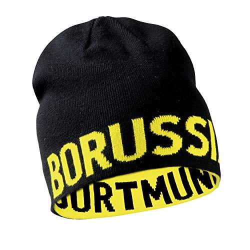 Borussia Dortmund BVB Wendemütze, Schwarz/Gelb, Schriftzug, Mütze Beidseitig Tragbar, für Erwachsene, Baumwolle/Polyacryl (Schwarz-Gelb), Schwarz-Gelb, one size