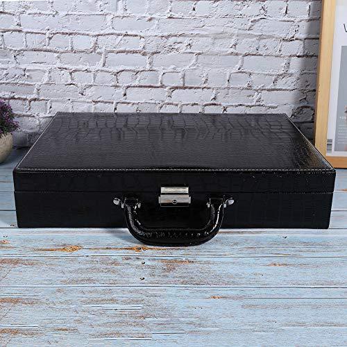 01 Caja de Reloj, Caja de Reloj para Hombres, con Organizador de Caja de Cuero PU con Llave con Diferentes Ranuras para exhibición de Almacenamiento