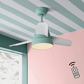 LXHK Ventilador de Techo con LED Luz y Mando a Distancia, Luces de Techo Silencioso, 3 Aspas de PVC, 3 Velocidades, Temporizador, Función Invierno/Verano, Motor AC Reversible, 20W