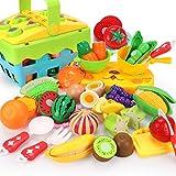 REMOKING Kinderküche Zubehör, Essen Spielzeug Set mit Korb, Schneiden von Gemüse & Obst, Rollenspiel Küchenspielzeug Set, Spielzeug Geschenk für Junge Mädchen Kinder ab 3 Jahre
