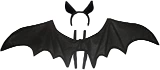 Unisex Costume Bat Wings and Ears Headband, Black, One Size