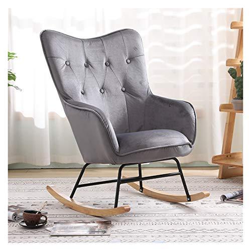 HAQTXI Nordic Single Sofa Recliner Sedia a Dondolo Poltrona Soggiorno Camera da Letto Balcone Lounge Sedia Siesta Sedia Lazy Sedia (Color : Grey)