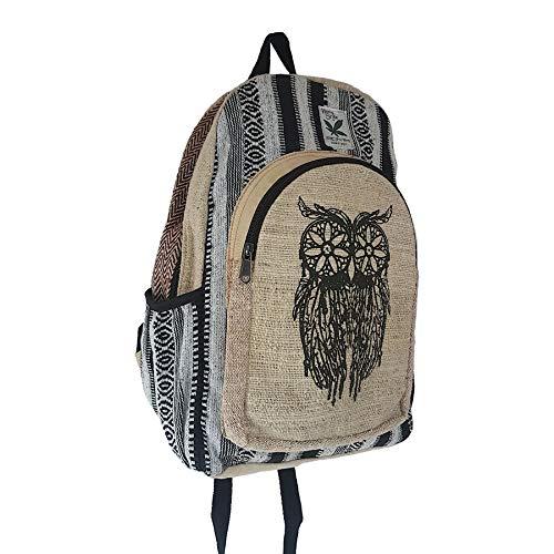 HempStyle Rucksack aus Hanf, Motiv Wise Owl – Himalaya-Hanf, Laptoptasche