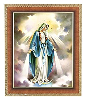 Catholic Gifts Our Lady of Grace Blessed Virgin Mother Mary Miraculous 10 x 12 Tiger Wood Picture Frame