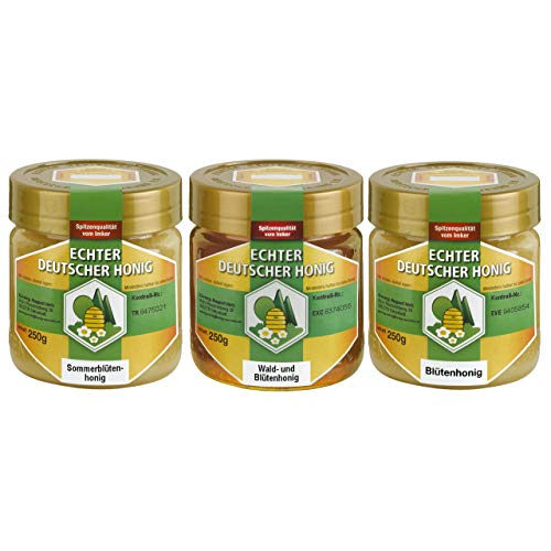 Echter Deutscher Honig. Set aus jew. 250g Wald- und Blütenhonig, Sommerblütenhonig und Blütenhonig. Ungefiltert, fein gesiebt - die Geschmacksvielfalt des Bienenjahres.