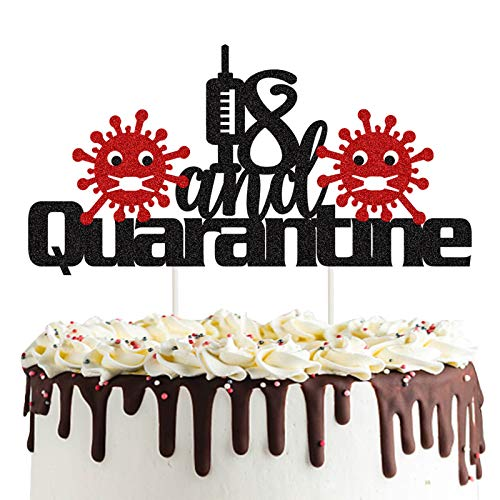 18 and Quarantine Cake Topper, Black Glitter Sweet 18 & Quarantined Birthday Cake Topper, Hello 18/Forever 18/Happy 18th Birthday/Social Distancing Birthday Party Supplies Decoration