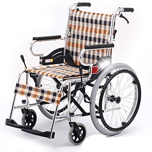 Z-SEAT Silla de Ruedas Plegable Asiento Ancho y Ligero con Frenos de Mano, Marco de aleación de Aluminio, sillas de Ruedas de Transporte portátiles para Adultos